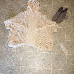 Knitted Cream Sweater with Hood